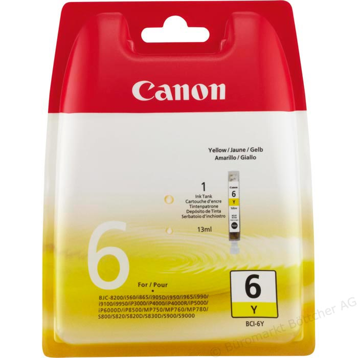 Vorschau: Original Canon BCI-6Y Patrone Pixma iP 4000 5000 6000 yellow