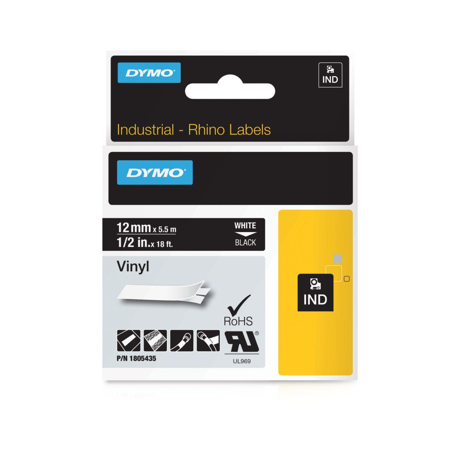 Dymo Rhino-Schriftband Vinyl 12mm x 5,5m weiß auf schwarz