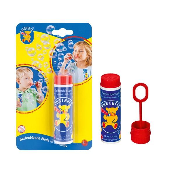 Pustefix - Kleinpackung - 42 ml - Seifenblasen – auf Blisterkarte - 1 Stück - Bubbles - Seifenblasen