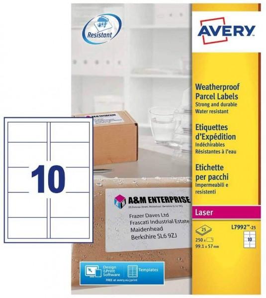 Avery L7992-25 Wetterfeste Versandetiketten (10 Stück pro Blatt, 99,1 x 57 mm) 250 Etiketten weiß