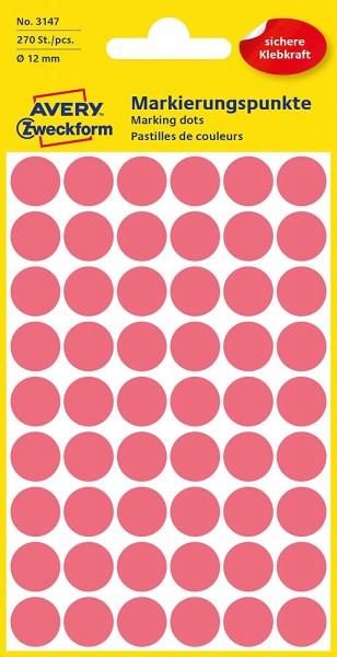 AVERY Zweckform 3147 selbstklebende Markierungspunkte (Ø 12 mm, 270 Klebepunkte auf 5 Bogen, runde A