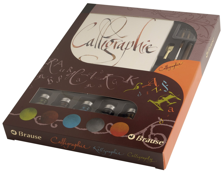 J.Herbin 149B Kalligraphie-Set Geschenkebox (mit 2 Bandzugfedern, 2 Federn, 1 Federhalter, 1 Pinsel,