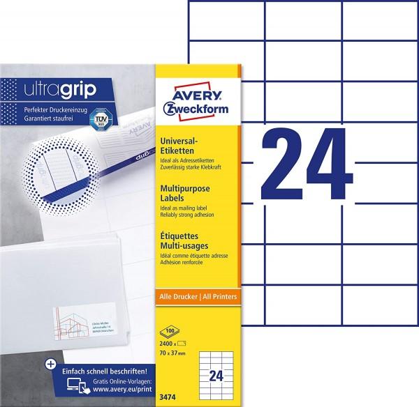 AVERY Zweckform 3474 Adressaufkleber (2.400 Klebeetiketten, 70x37mm auf A4, Papier matt, bedruckbare