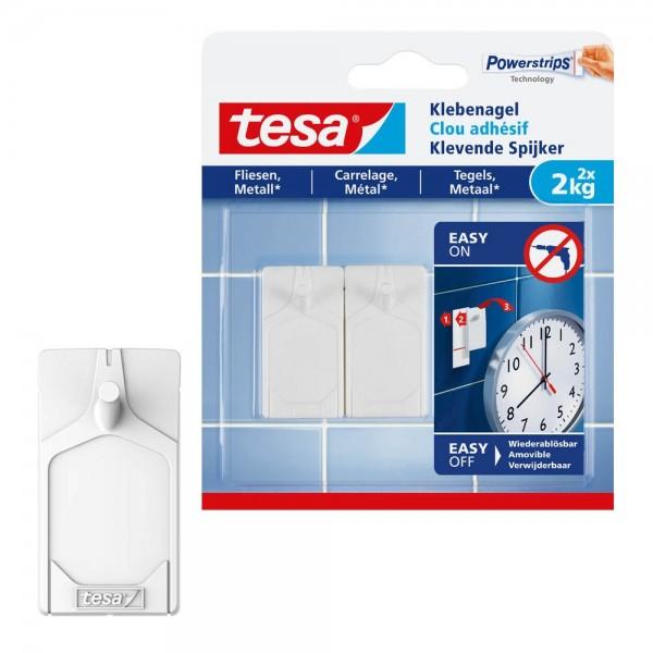 tesa Klebenagel für Fliesen und Metall, 2x für max 2 kg