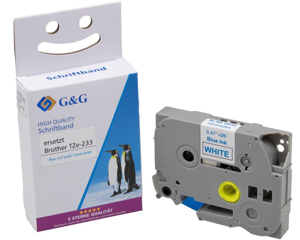 G&G Schriftband ersetzt Brother TZe-233 (12mm x 8m) blau auf weiß