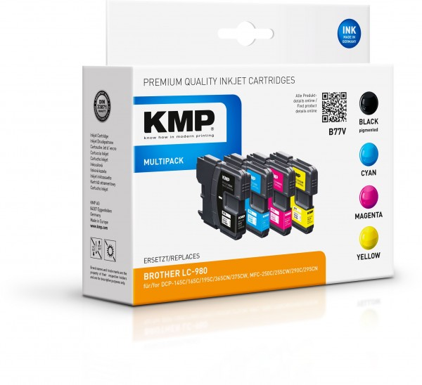 KMP Multipack B77V kompatibel mit Brother LC-980 schwarz cyan magenta yellow