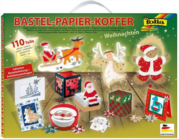 folia 922 - Bastelpapierkoffer Weihnachten, 110 Teile - Kreativset für Kinder und Erwachsene mit Bas