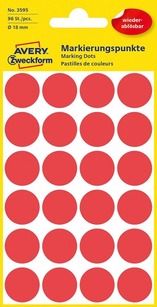 AVERY Zweckform 3595 selbstklebende Markierungspunkte 96 Stück (Ø18mm, ablösbare Klebepunkte auf 4 B