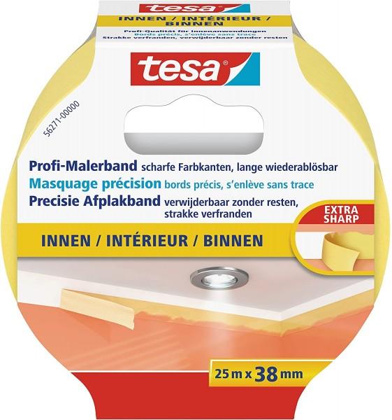 tesa Profi-Malerband INNEN - Dünnes Abdeckband für extrem präzises Abkleben bei Malerarbeiten, lösun