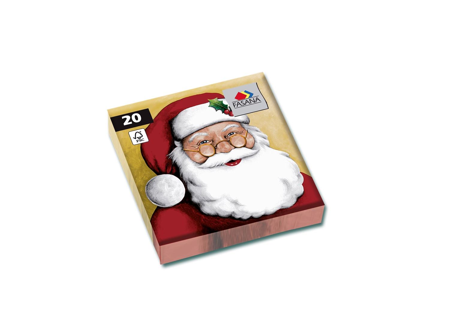 Fasana Servietten 33 x 33 cm 1/4 Falzung 20 Stück Weihnachtsmann