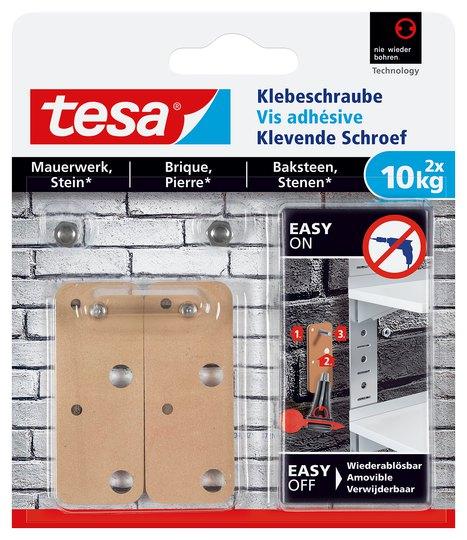 tesa Klebeschraube viereckig, Mauerwerk, 2 x 10 kg