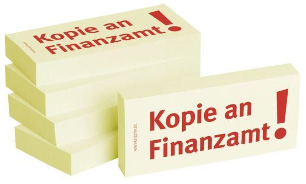 BIZSTIX Bedruckte Haftnotizen- Text: Kopie an Finanzamt!