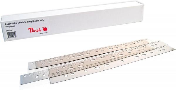 Peach PB500-01 Abheftstreifen für Drahtbinderücken DIN A4, 31 Stanzlöcher, 100 Stück, klar