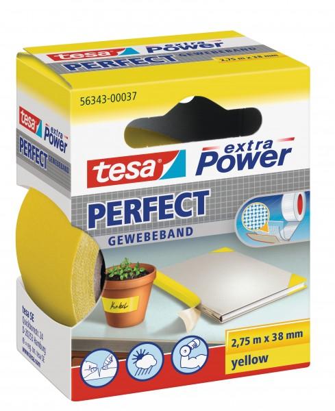 GP: 1,45 EUR/m tesa extra Power Perfect Gewebeband gelb 2,75m x 38mm