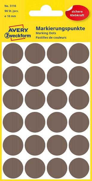 AVERY Zweckform 3116 Selbstklebende Markierungspunkte, Taupe (Ø 18 mm; 96 Klebepunkte auf 4 Bogen; R