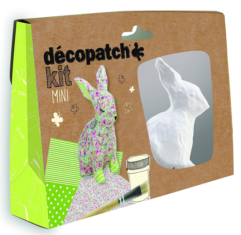 Décopatch Bastel Set Pappmaché Mini Kaninchen Hase (ideal für Ostern und für Kinder, 19 x 13,5 x 4,5