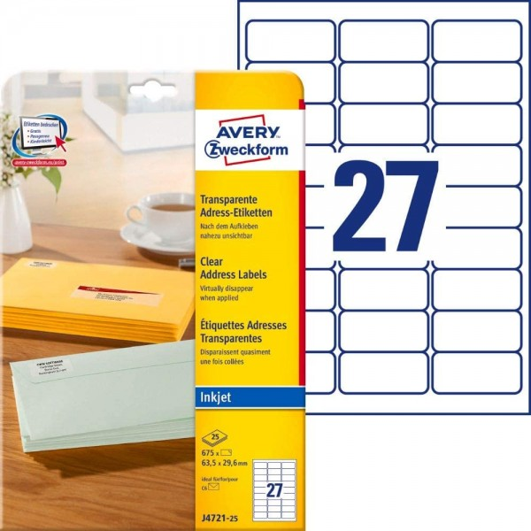 AVERY Zweckform J4721-25 Adressetiketten/Adressaufkleber (675 Etiketten, 63,5x29,6mm auf A4, bedruck