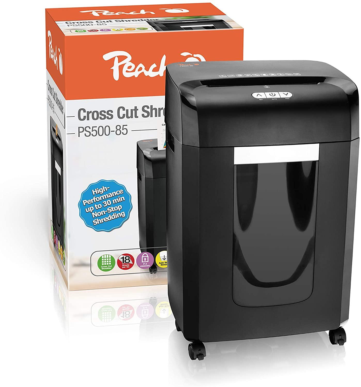 Peach PS500-85 Partikelschnitt Aktenvernichter   21 Blatt   23 Liter/300 DIN A4   4 x 35 mm Partikel