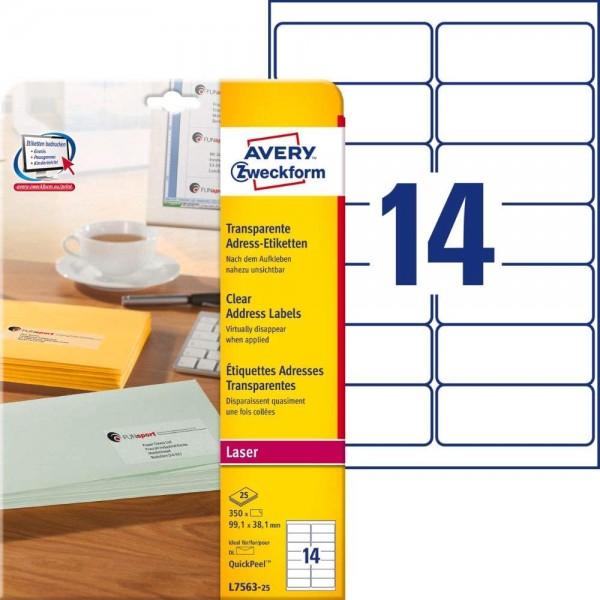 AVERY Zweckform L7563-25 Adressetiketten/Adressaufkleber (350 Etiketten, 99,1x38,1mm auf A4, bedruck