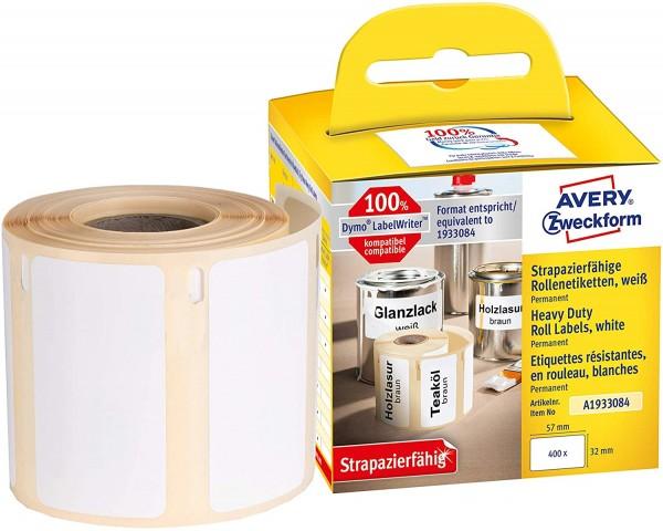 AVERY Zweckform A1933084 Folienetiketten extrem stark selbstklebend, 400 Aufkleber (54 x 101mm, Komp