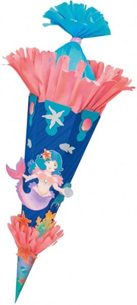 folia 92207 - Schultüten Bastelset Meerjungfrau, inklusive Schultütenrohling aus 3D Wellpappe ca. 68