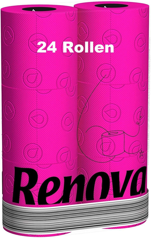 24 Rollen RENOVA farbiges Toilettenpapier - Pink / Fuchsia - 3-lagig