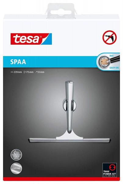 Tesa Spaa Duschwischer (NICHT BOHREN, verchromt, rostfrei, inkl. Halterung und Klebelösung, weiche G