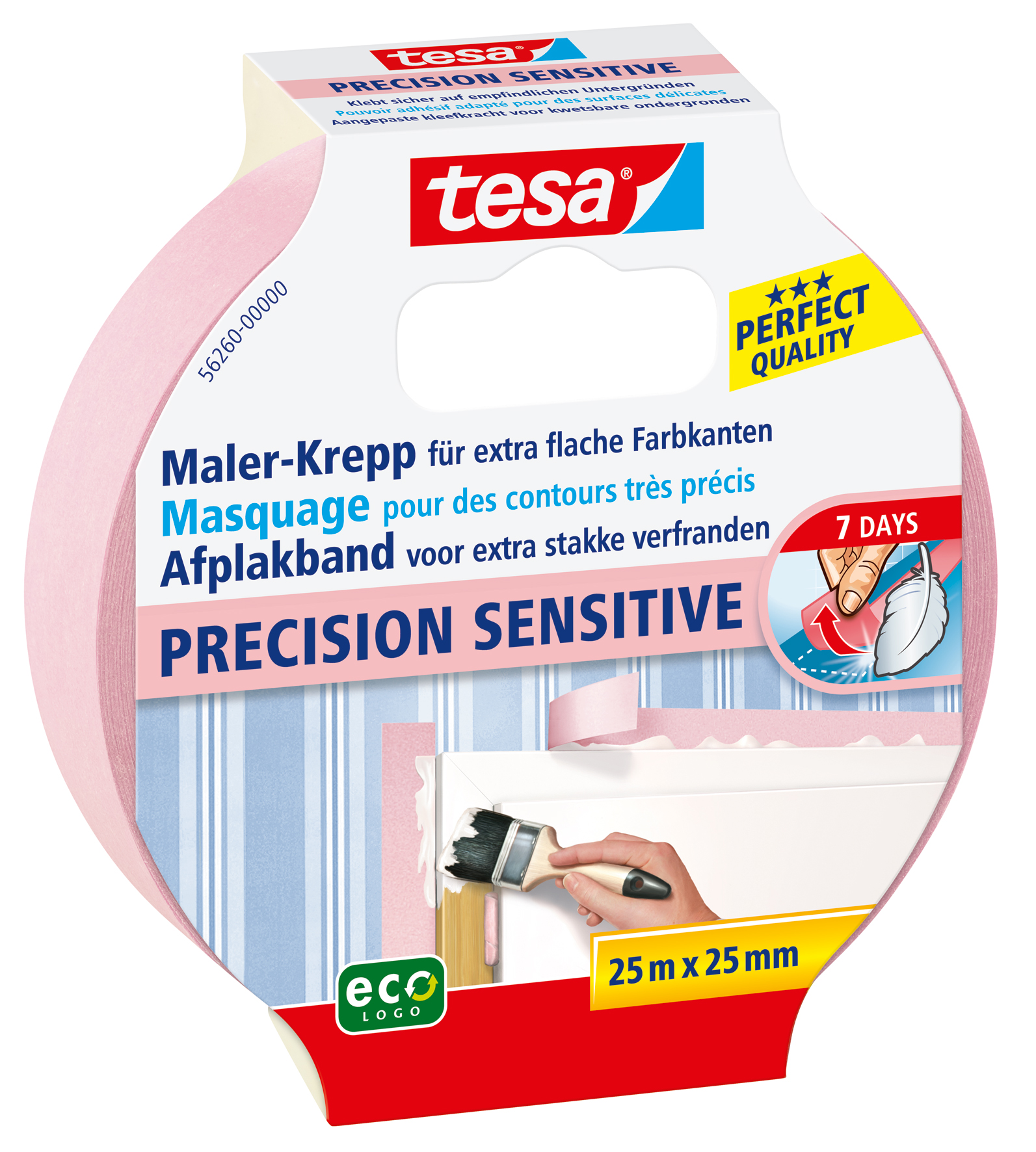 Vorschau: GP: 0,12 EUR/m 6 x tesa Maler-Krepp Precision Sensitive 25 m x 25 mm