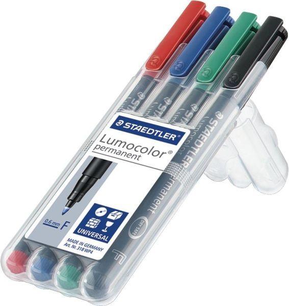 Staedtler® Feinschreiber Universalstift Lumocolor permanent, F, Box mit 4 Farben