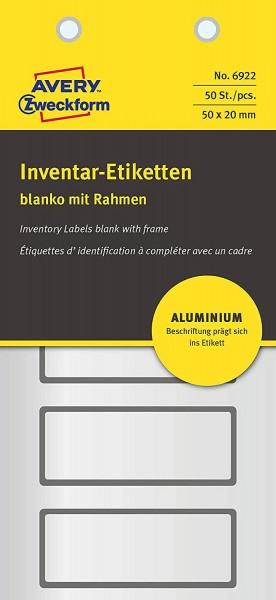 AVERY Zweckform 6922 Aluminium Inventaretiketten (selbstklebend, witterungsbeständig und fälschungss