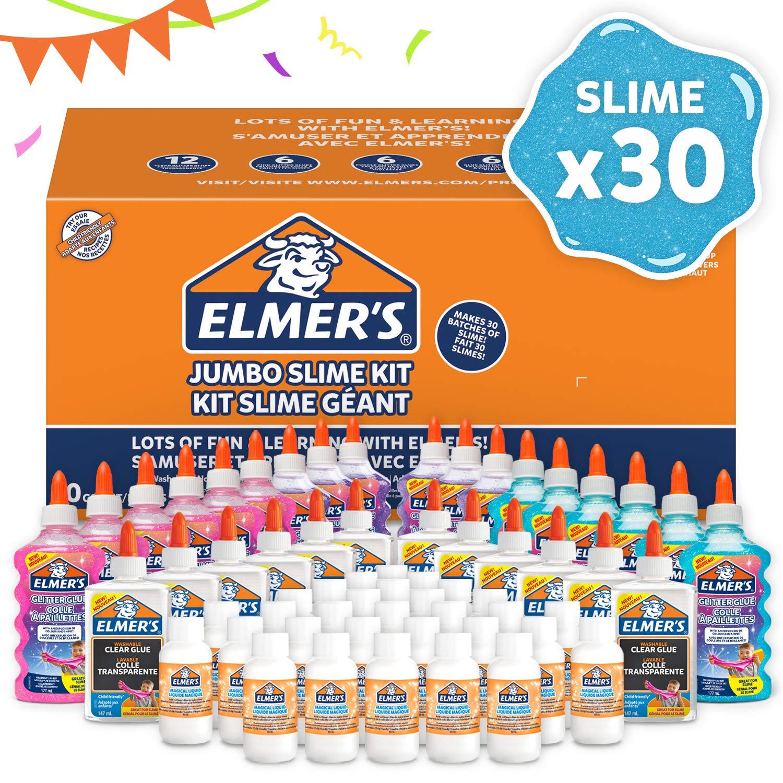 Elmer's Party Kit für Slime aus Kleber in Der Großpackung; mit Glitzerkleber (18 Flaschen), klarem K