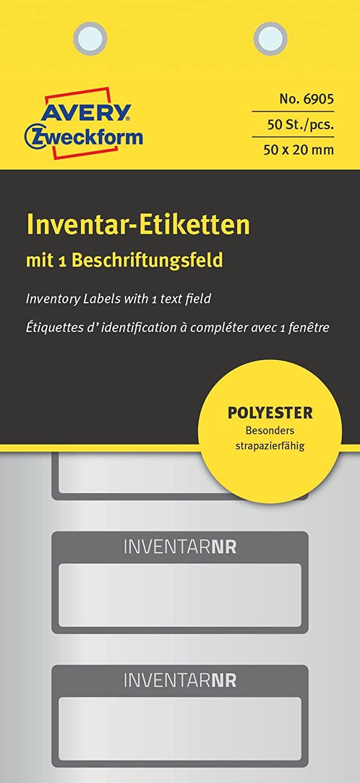 AVERY Zweckform 6905 Polyester Inventaretiketten (stark selbstklebend, strapazierbar, Kleinformat, 5