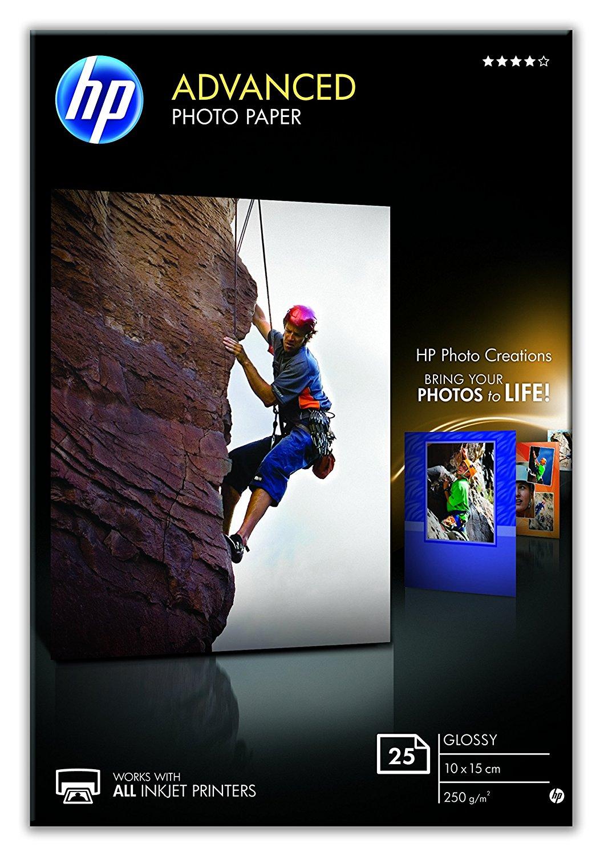 10x HP Q8691A Advanced Glossy Fotopapier 250g/m² 10x15cm 25 Blatt, Fotokarten, weiß
