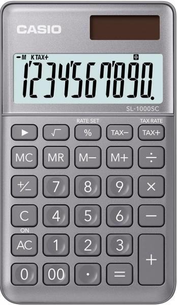 Casio SL-1000SC-GY stylischer Taschenrechner, 10-stelliges BIG LC-Display mit Rechenbefehl-Anzeige,