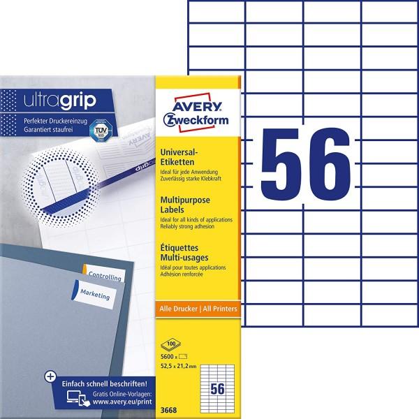 AVERY Zweckform 3668 Universal Etiketten (5.600 Klebeetiketten, 52,5x21,2mm auf A4, Papier matt, ind