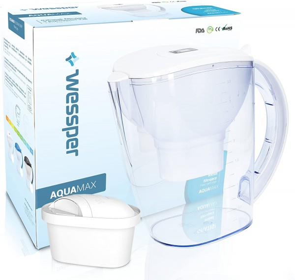 Wessper Wasserfilter AquaMax inkl. 1 Filterkartusche, kompatibel mit Brita Maxtra (Weiß; 3.5L Fassun