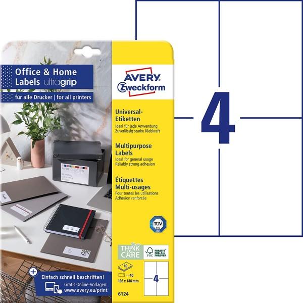 AVERY Zweckform 6124 Universal Etiketten (40 Klebeetiketten, 105x148 mm auf A4, bedruckbare Adressau