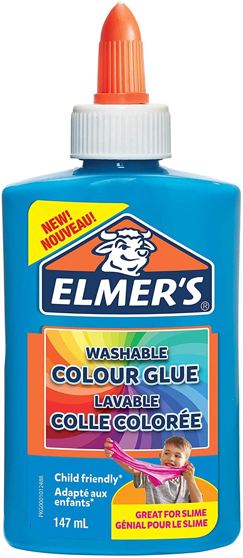 Elmer's farbiger PVA-Kleber | blau | 147 ml | auswaschbar | ideal zur Herstellung von Schleim | 1 St