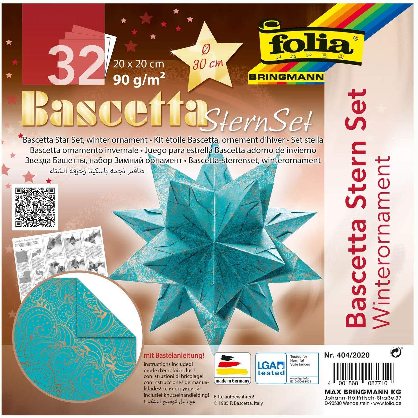 folia 404/2020 - Bastelset Bascetta Stern Winterornament türkis/kupfer, 32 Blatt, 20 x 20 cm, fertig