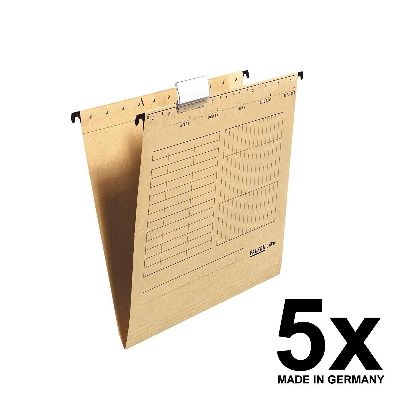 5x Falken Hängetasche 80004328 UniReg, braun 230g/m²-Kraftkarton, seitlich offen