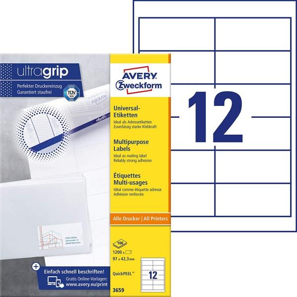 AVERY Zweckform 3659 Adressaufkleber (1.200 Klebeetiketten, 97x42,3mm auf A4, Papier matt, bedruckba