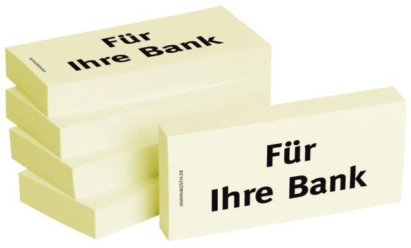 BIZSTIX Bedruckte Haftnotizen- Text: Für Ihre Bank