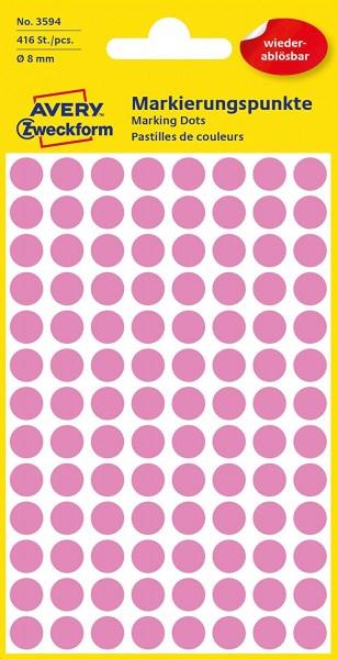 AVERY Zweckform 3594 selbstklebende Markierungspunkte (Ø 8 mm, 416 ablösbare Klebepunkte auf 4 Bogen