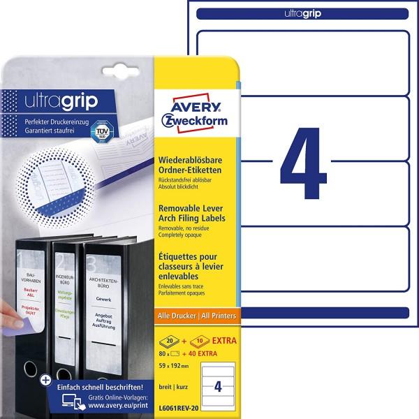 AVERY Zweckform L6061REV-20 Ordnerrücken Etiketten (mit ultragrip, 59 x 192 mm auf DIN A4, wiederabl
