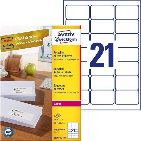AVERY Zweckform LR7160-100 Recycling Etiketten (2.100 Adressaufkleber, 63,5x38,1mm auf A4, 100% recy