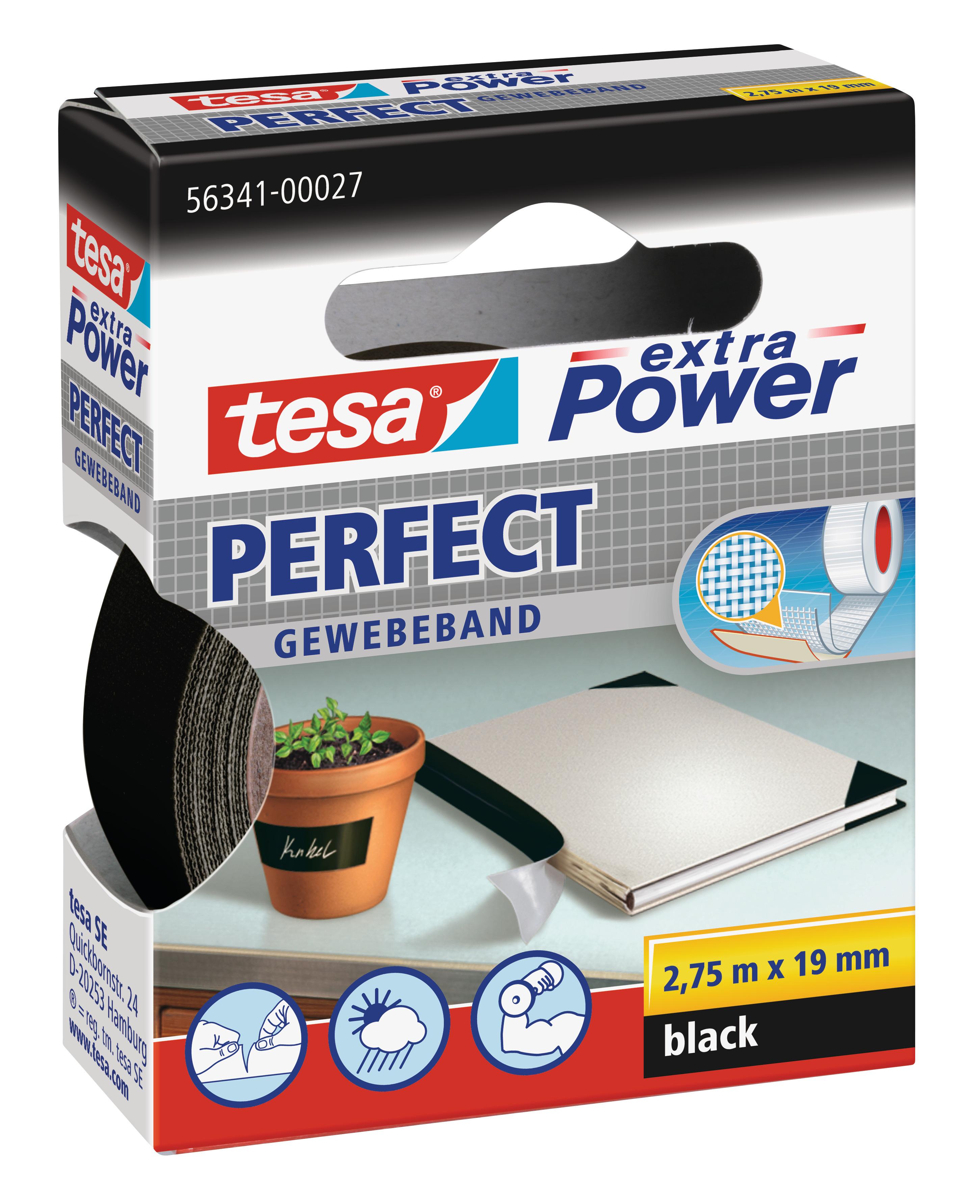 Vorschau: GP: 0,72 EUR/m tesa extra Power Perfect Gewebeband schwarz 2,75m x 19mm