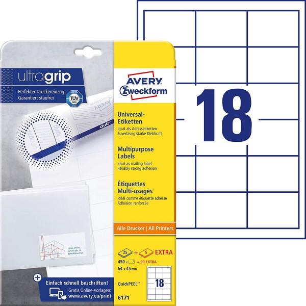 AVERY Zweckform 6171 Adressaufkleber (450 plus 90 Klebeetiketten extra, 64x45mm auf A4, Papier matt,