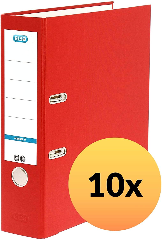 ELBA 100202218 Ordner smart Original Papier 10er Pack 8 cm breit DIN A4 ROT - für den täglichen Gebr
