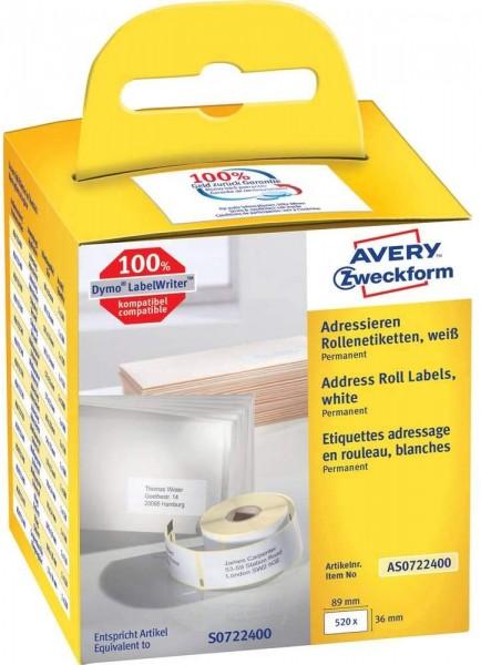 AVERY Zweckform AS0722400 Adressetiketten selbstklebend, 520 Aufkleber (36 x 89 mm, Kompatibel mit D