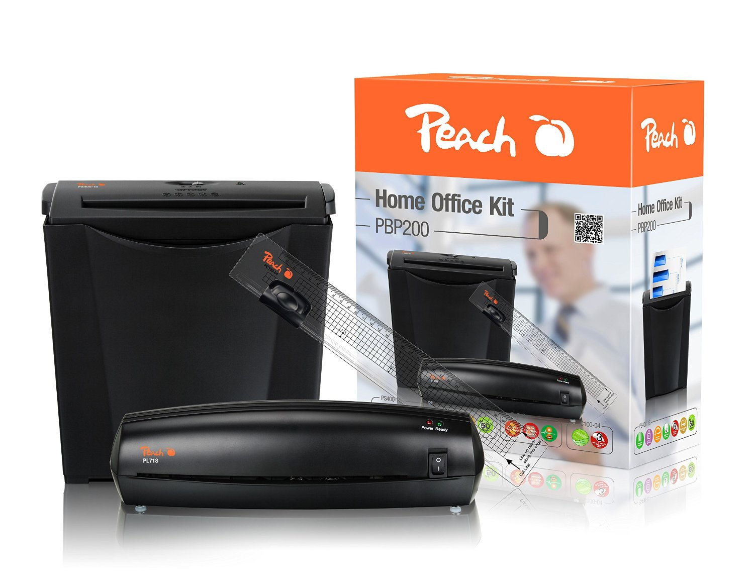 Peach PBP200 3in1 Office Kit - Vorteils-Set mit Aktenvernichter, Laminiergerät und Trimmer